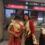 成田空港で記念撮影
