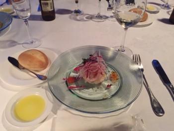 リゾットとお魚と野菜のミルフィーユ